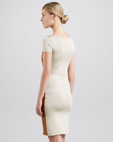Ralph Lauren Black Label Leather-Front Short-Sleeve Dress, Caramel