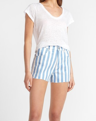 Express Super High Waisted Striped Raw Hem Mom Jean Shorts