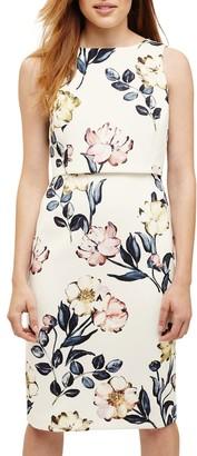 Phase Eight Peony Floral Print Dress, Cream/Multi