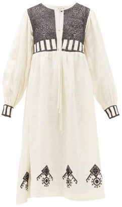 Fil De Vie - Agadir Cross-stitched Linen Midi Dress - Cream