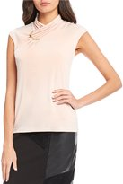 Calvin Klein Pleated Crossover High Neck Matte Jersey Shell