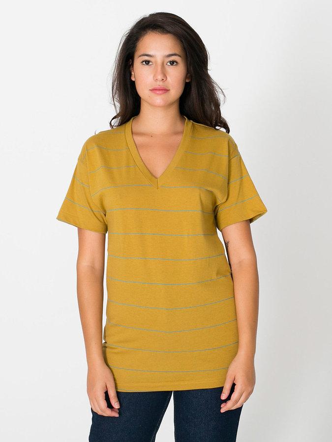 American Apparel Unisex Pinstripe Jersey Short Sleeve V-Neck