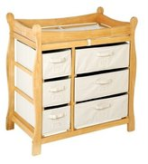 Badger Basket 02411 Natural Sleigh Style Changing Table With Six Baskets