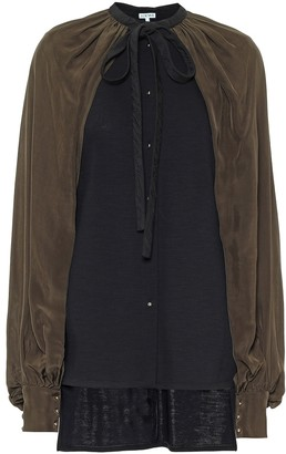 Loewe Caped wool-blend blouse