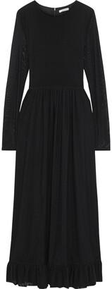 Ganni Addison Swiss-dot Stretch-tulle Maxi Dress