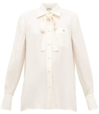 Valentino Logo-plaque Pussy-bow Silk Blouse - Ivory