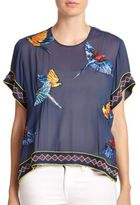 Elle Sasson Beaded Parrot-Patterned Sheer Cotton Top