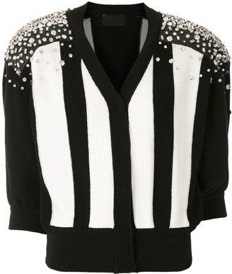 Andrea Bogosian Colour Block Embellished Detail Knitted Top