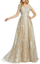 Mac Duggal 6-Week Shipping Lead Time Illusion Cap-Sleeve Novelty Fabric Gown