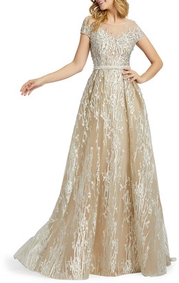 Mac Duggal Illusion Cap-Sleeve Novelty Fabric Gown
