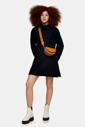 Topshop Black Plaited Funnel Neck Knitted Sweater Mini Dress