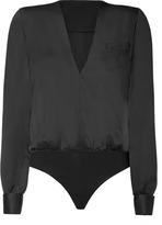 Salvatore Ferragamo Black Charmeuse Bodysuit