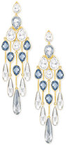 Swarovski Gold-Tone Blue and Clear Crystal Chandelier Earrings