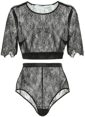 Off-White Lace top and bottoms set