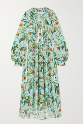 Dodo Bar Or Annabel's Printed Cotton-voile Maxi Dress - Sky blue