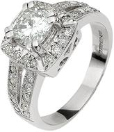 Moissanite 18 Carat White Gold 185 Points Cushion Set Ring With Stone Set Shoulders
