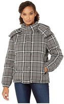 Vince Camuto Large Bold Plaid Hooded Puffer Jacket (Medium Heather Grey) Women's Coat