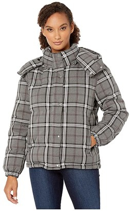 Vince Camuto Large Bold Plaid Hooded Puffer Jacket