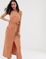 Asos Design DESIGN button through maxi dress with self belt