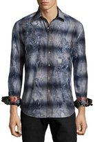 Robert Graham Limited Edition Embroidered Floral-Print Sport Shirt, Navy