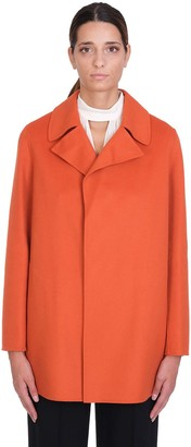 Theory Coat In Orange Wool
