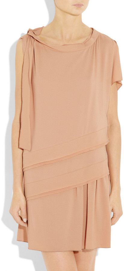 Miu Miu Tiered-panel crepe dress