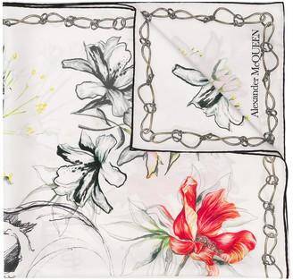 Alexander McQueen Floral-Print Silk Scarf