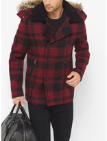 Michael Kors Fur-Trimmed Buffalo Check Wool Melton Anorak Peacoat