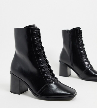 ASOS DESIGN Wide Fit Rylee square toe lace up boots in black