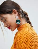 Asos Square Jewel And Resin Disc Earrings