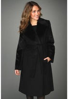 Hilary Radley Notched Lapel Belted Coat w/ Faux Fur Trim (Black) - Apparel