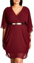 City Chic Plus Size Women's Belted Chiffon Faux Wrap Dress