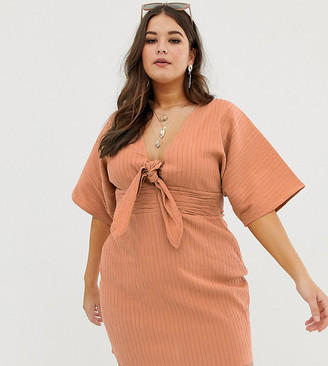 Asos DESIGN Curve kimono sleeve twist front mini dress in texture-Orange
