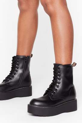 Nasty Gal Womens Lace-Up to Somethin' Faux Leather Platform Boots - black - 3