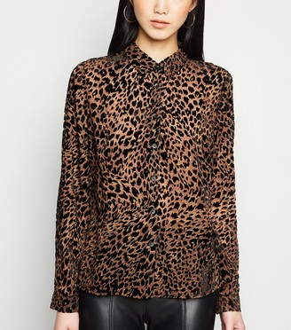 New Look Flocked Leopard Long Sleeve Shirt