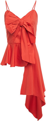 Johanna Ortiz Ninette De Valdis Bow-embellished Cotton-blend Poplin Peplum Blouse