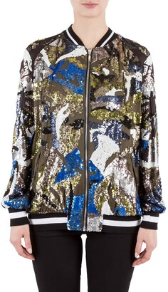Amen Multicolor Sequin Embellished Satin Bomber Jacket M