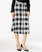 NY Collection Plaid Ponte A-Line Skirt