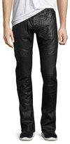 PRPS Demon Double Star Coated Moto Slim-Straight Jeans, Black