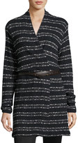 Three Dots Natasha Long Striped Cardigan, Black