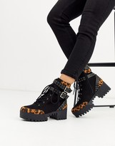 London Rebel chunky lace up hardware boots in leopard mix