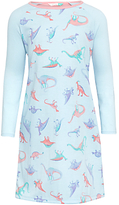 John Lewis Children's Dino Print Long Sleeve Nightdress, Blue