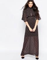 Liquorish Kimono Sleeve Maxi Dress In Ditsy Print