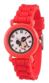 EWatchFactory Boy's Disney Mickey Mouse Red Plastic Time Teacher Strap Watch 32mm