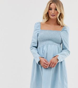 Asos DESIGN Maternity denim shirred mini smock dress in lightwash blue