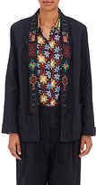 Giada Forte Women's Embroidered Linen Jacket-NAVY