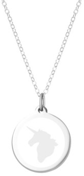 """Auburn Jewelry Unicorn Pendant Necklace in Sterling Silver and Enamel, 16"""" + 2"""" Extender"""