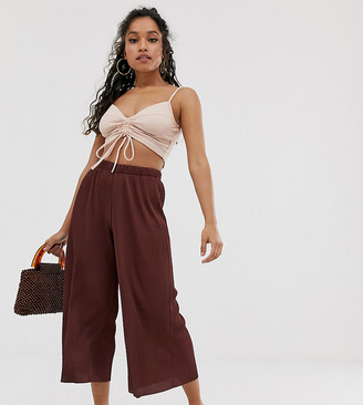 Asos DESIGN Petite plisse culotte trousers-Brown