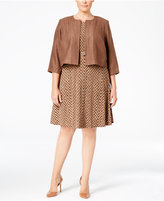 Jessica Howard Plus Size Belted A-Line Dress and Faux-Suede Jacket