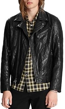 John Varvatos Collection Asymmetrical Slim Fit Leather Jacket